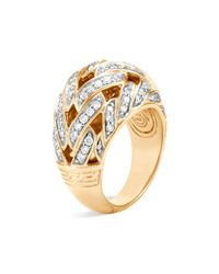 John Hardy - Metallic 18k Yellow Gold Classic Chain Pavé Diamond Dome Ring - Lyst