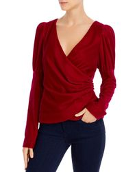 Cinq À Sept Red Theo Velvet Puff Sleeve Wrap Top