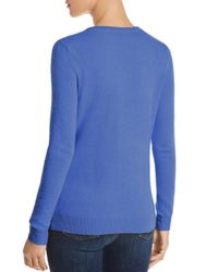 C By Bloomingdale's Blue Crewneck Cashmere Sweater
