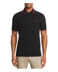 Fred Perry - Black Tipped Piqué Slim Fit Polo Shirt for Men - Lyst