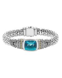 Lagos - Metallic 18k Gold And Sterling Silver Caviar Color Bezel Bracelet With London Blue Topaz - Lyst