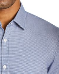 BOSS Blue Boss Ronn Short - Sleeve Micro - Grid - Print Slim Fit Shirt for men