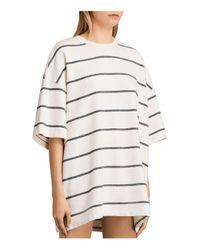 AllSaints - White Arctic Striped Tee - Lyst