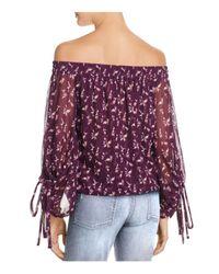 MISA Purple Tie-sleeve Off-the-shoulder Top