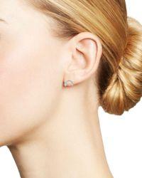 Adina Reyter Multicolor Sterling Silver Blue Topaz & Diamond Rainbow - Shaped Stud Earrings