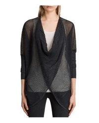 AllSaints - Gray Itat Levita Convertible Open-knit Sweater - Lyst
