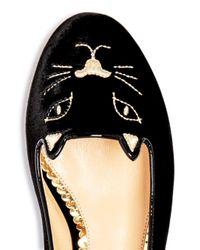 Charlotte Olympia Black Women's Kitty Embroidered Velvet Flats