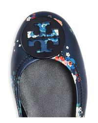 Tory Burch Blue Women's Minnie Floral Leather Travel Ballet Flats