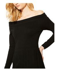 Karen Millen Black Pointelle Off-the-shoulder Dress