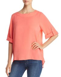 Side Stitch - Pink Roll Cuff High/low Blouse - Lyst