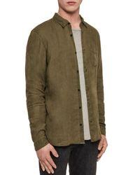AllSaints Green Warwick Slim Fit Button - Down Shirt for men