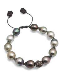 Armenta Metallic Old World Midnight Tahitian South Sea Pearl And Champagne Diamond Beaded Cord Bracelet