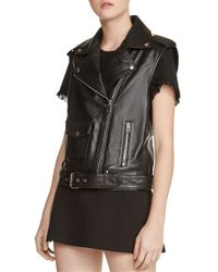 Maje Black Baldwin Leather Moto Vest