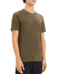 Theory Green Essential Crewneck Short Sleeve Tee for men