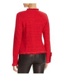 NIC+ZOE - Red Fringed Chevron-tweed Jacket - Lyst
