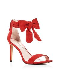 Avec Les Filles Red Women's Jax Suede Bow High Heel Sandals