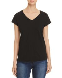 Eileen Fisher - Black Organic Cotton V-neck Tee - Lyst