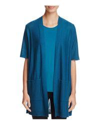Eileen Fisher - Blue Short Sleeve Open Cardigan - Lyst