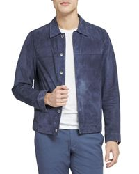 Theory Blue Suede Shirt Jacket for men