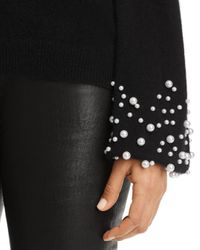 C By Bloomingdale's Black Embellished - Cuff Cashmere Sweater