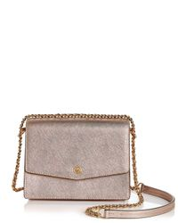 Tory Burch - Metallic Robinson Convertible Leather Shoulder Bag - Lyst