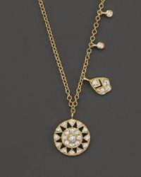 Meira T Metallic 14k Yellow Gold Antique Pendant Necklace With Diamonds