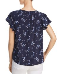 Rebecca Taylor - Blue Francine Floral-print Silk Top - Lyst