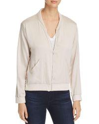 Majestic Filatures White Silk & Linen Bomber Jacket