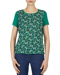 Gerard Darel Green Floral Print & Solid Tee