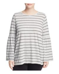 Vince Camuto Signature Gray Nova Striped Bell Sleeve Top