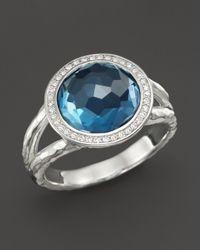 Ippolita Metallic Sterling Silver Stella Mini Lollipop Ring In London Blue Topaz With Diamonds