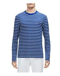 1297f329 Men's Blue Slub Jersey Stripe Long Sleeve Tee