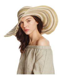 Aqua | Natural Striped Floppy Sun Hat | Lyst