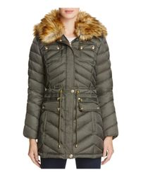 Laundry by Shelli Segal - Green Faux Fur Trim Anorak - Lyst