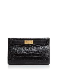 Tory Burch Black Croc Embossed Leather Shoulder Bag