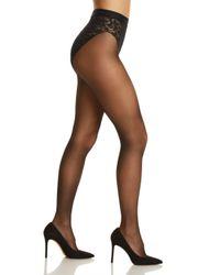 Donna Karan Black Signature Lace Waist Tights