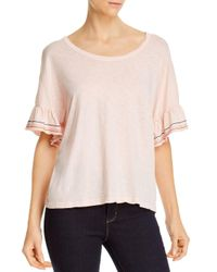 Sundry Pink Embroidered Ruffled - Sleeve Top