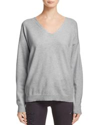 Aqua Gray Cashmere Lace-up Back Cashmere Sweater