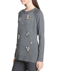 Calvin Klein - Gray Crew Neck W/ All Over Broch Sweater (heather Charcoal) Sweater - Lyst