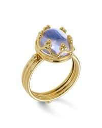 Temple St. Clair Metallic 18k Gold Crown Ring With Royal Blue Moonstone