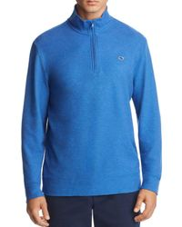 Vineyard Vines Blue Reverse Oxford Piqué Quarter-zip Pullover for men