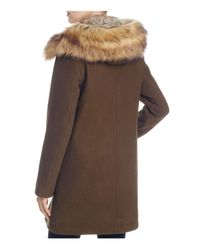 Vince Camuto - Brown Zip Front Faux Fur Hood Coat - Lyst