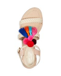 Kate Spade Multicolor Sunset Tasseled Pom-pom Sandals