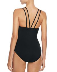 Gottex Black Rambling Rose High Neck One Piece Swimsuit