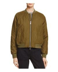 Vince - Green Quilted Bomber Jacket - Lyst