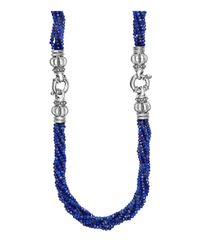 Lagos - Metallic Sterling Silver Caviar Icon Lapis Beaded Multi Strand Convertible Bracelet And Necklace - Lyst