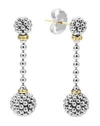 Lagos Metallic Sterling Silver Caviar Beaded Drop Earrings With 18k Gold