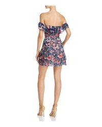 For Love & Lemons Blue Flora Off-the-shoulder Mini Dress