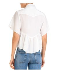 The Kooples White Lace-inset Button-down Cropped Top