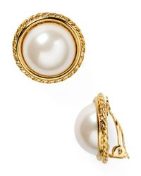 Carolee White Rope Imitation-pearl Clip On Earrings